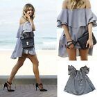 Women Mini Short Off The Shoulder Strapless Ruffle Dress Top Clubwear Prom Gray