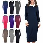 Womens Ladies Contrast Collared Stretchy Ankle Length Long Maxi Dress Plus Size
