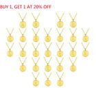 18K Gold A-Z Alphabet Initial Letter Coin Sterling Silver Pendant Necklace Gifts