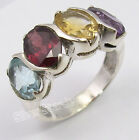925 Sterling Silver MULTICOLOR 4 GEMSTONES RETRO STYLE New Ring Any Size ARTISAN