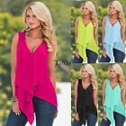 Women Ladies Sleeveless Chiffon Shirt Tank Tops Irregular Blouse T-Shirt Casual