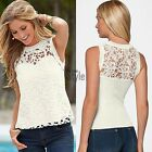 Women's Ladies Sexy Lace Vest Top Sleeveless Blouse Casual Tank Tops T-Shirts