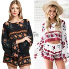 Sexy Womens Long Sleeve Backless Floral Loose Crop Top Shorts 2 Piece Set TXST