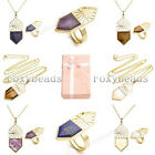 Gold Plated Copper Hollow Shield Gemstone Pendant Necklace Finger Ring Set Gift