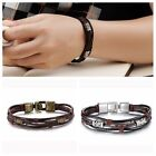New Men's Braided PU Leather Stainless Steel Cuff Bangle Bracelet Wristband