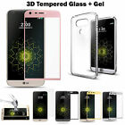 Ultra Thin Clear Gel Case & Full Cover Curved Tempered Glass Protector for LG G5