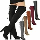 Womens Ladies Suede Over The Knee Boots Shoes Block High Heel Lace Thigh Stretch