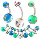 acrylic belly painted ball button navel ring piercing bar 9ICK-PICK STYLE&SIZE