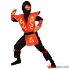 Boys Ninja Costume Red Dragon Samurai Warrior Fancy Dress Halloween Book Week