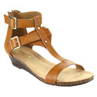 KENNETH COLE REACTION GREAT STEP Women's Double Buckle T-Strap Wedge Sandals