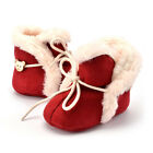 Baby Boys Girls Infant Winter Velvet Snow Bear Button Boots Soft Sole Crib Shoes
