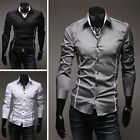 New Men's Men Luxury Casual Slim Stylish Long Sleeve Dress Shirt 3 Colors 5 Size