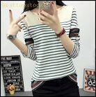 Hot Sale Cotton Blend Ladies Girls Student Sleeves Collar Color Stitching Shirts