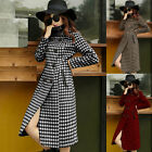 Womens Houndstooth Wool Blend Coat Double-Breasted Slim Long Trench Jacket M-4XL