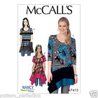 McCall's 7413 Sewing Pattern to MAKE Misses'/Women's Knit Tops Asymmetrical Hem