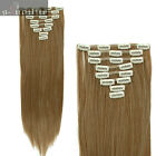 FULL HEAD CLIP IN HAIR EXTENSIONS wavy curly straight brown Blonde US Seller ssn