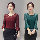 Delicate Women Lace Flowers Blouse Tops Office Lady Flounced Sleeve Tee Shirts