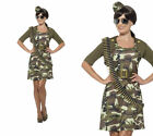 Combat Cadet Costume Ladies Army Girl Fancy Dress Outfit Sizes XS-XL