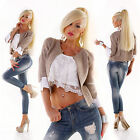 WOW Exclusive Jacke Strickjacke Janker 2 in 1 Optik  beige blau rose