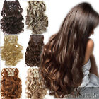"19-26"" 8Pcs/set Long Full Head Clip in Hair Extensions real human made hair Q79"
