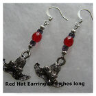 Dangle Drop Earrings Red Hat Strawberry Feathers Red Silver Plated Jewekry
