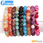"Handmade Colorful Matte Onyx Agate Beaded Stretchy Bracelet 7"" Free Shipping"