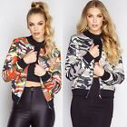 Vintage Women's Fashion Long Sleeve Zip Up Camouflage Bomber Jacket Short Coat
