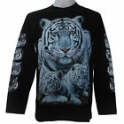 WHITE TIGER GRIM BIKER SKULL PRISON CHOPPER MENS L/S T-SHIRT