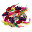 Chiwava Pet 12PCS Shiny Mylar Mice With Colorful Feather Kitten Interactive Toy