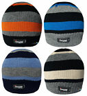 Boys Beanie Hat Stripe Design Thinsulate Lined Kids Winter Warm Striped Ski Cap
