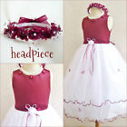 Gorgeous Burgundy wine bridal pageant flower girl party  recital easter dress