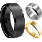 8mm Stainless Steel Ring Man/Women's Band Silver Black Gold Rose Sz 7-13 unique