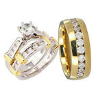 His and Hers Wedding Rings 3 pcs Engagement CZ Sterling Silver Titanium Set T