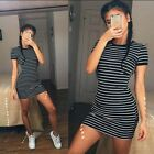 Fashion Women's Dress Round Neck Striped Black and White Short-sleeved