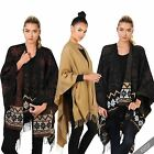 Ladies Tassel Soft Blanket Wrap Poncho Cape Kimono Oversize Scarf Shawl Winter