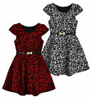 Girls Short Sleeved Velvet Damask Dress New Kids Party Dresses Ages 3-12 Years