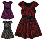 Girls Floral Lace Short Sleeved Party Dress New Kids Dresses Ages 3-12 Years