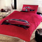 3 Pce - 100% Cotton Formula One 1 Ferrari Red Sport Quilt Doona Duvet Cover Set