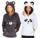 Ladies Fleece Animal Hoodie New Womens Novelty Hooded Ears Winter Jumper UK 8-22
