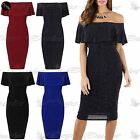 Womens Ladies Bardot Off Shoulder Shiny Bandage Sleeveless Frill Bodycon Dress