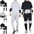 Mens Essentials Contrast Panel Tracksuit Hoodies Jogging Bottom Joggers Gym Set