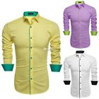 Coofandy Hombres moda Slim Fit Collar Patchwork manga larga camisa Casual DZ88