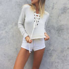 Casual V-neck Striped Bandage T-shirt Tops Women's Long Sleeve with Hoodies