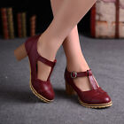 Chic Lady British  Round toe Date Causal Brogue T-strap Buckle Shoes Sz 34-43