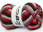 Lot of 4 x 100gr Skeins Ice Yarns ANTIPILLING COLOR Yarn Red Grey Black Light Pi