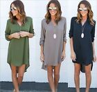Irregular Short Dress Women's Casual Tops Shirt V Neck Long Sleeve Autumn Design