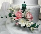 """Sugar Roses & Mixed Flower Side Spray Cake Topper 9 x 5"""""""