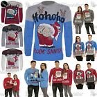Womens Mens Unisex contrast Mooning Santa Ho Ho Ho Christmas Winter Knit Jumper