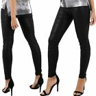 New Ladies Black Shiny Wet Look Leggings Womens Skinny Fit Back Pockets Jeggings