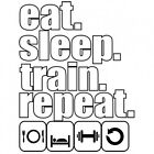BRAND NEW EAT. SLEEP. TRAIN. REPEAT. White T-Shirts Small to 5XL